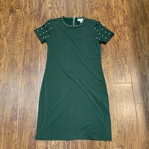 Michael Kors green dress with gold studs NWT Small